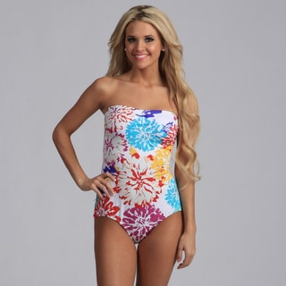 Jantzen White Floral Bandeau One Piece Swimsuit