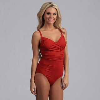 Jantzen Red Cross-over One-Piece Swimsuit