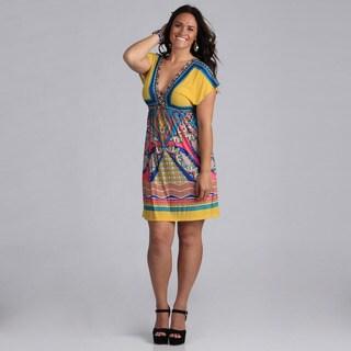 White Mark Women's Plus Size 'Ibiza' Pink and Turquoise Sleeveless Sundress