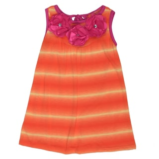 Funkyberry Girls' A-line Tie-Dye Orange Dress