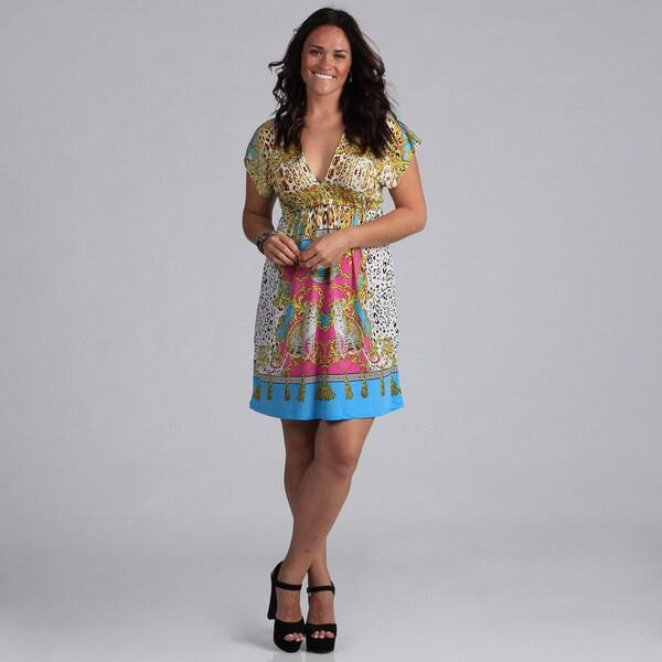White Mark Women's Plus Size 'Ibiza' Yellow and Turquoise Sundress
