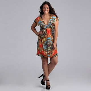 White Mark Women's Plus Size 'Ibiza' Red Multicolored Sundress