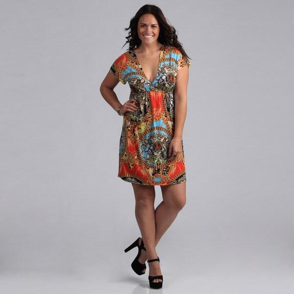 White Mark Women's Plus Size 'Ibiza' Red Multicolored Sundress