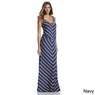 Elan Women's Striped Scoop Neck Maxi Dress