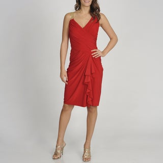 Betsy & Adam Women's Red Sleeveless Cascading Evening Dress
