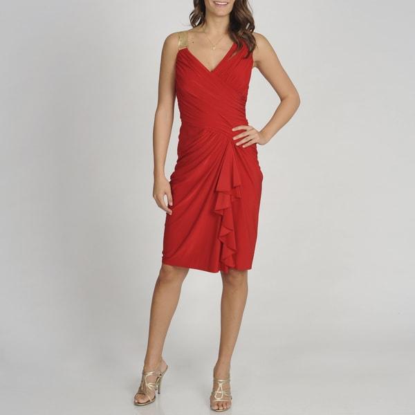 Betsy & Adam Women's Red Sleeveless Cascading Evening Dress
