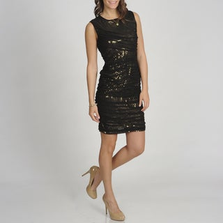 Betsy & Adam Women's Sequin Embellished Ruched Overlay Dress