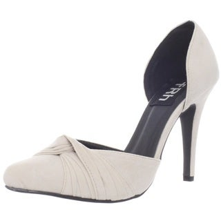 Fahrenheit Women's Beige 'CR-03' Knotted Pointed-Toe Pumps