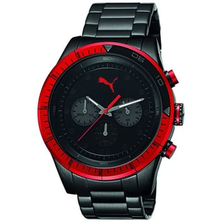 Puma Men's 'Fast Track' Black Stainless Steel Chronograph Watch
