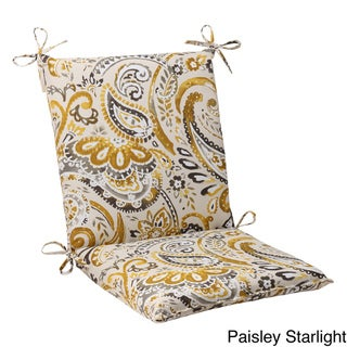 Pillow Perfect Outdoor Paisley Squared Chair Cushion with Ties