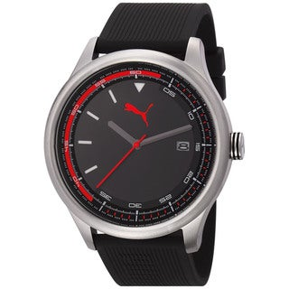 Puma Men's 'Wheel' Black/ Red Sport Watch