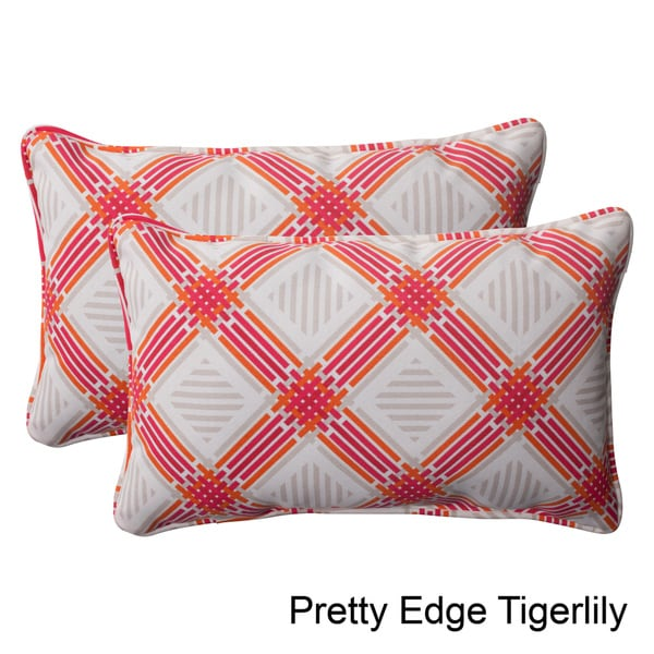 Pillow Perfect Outdoor Pretty Edge Corded Rectangular Throw Pillow (Set of 2)