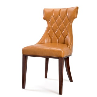 'Regis' Camel Leather Dining Chairs (Set of 2)