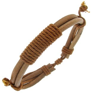 Tan Leather Multi-layered Cord Adjustable Bracelet