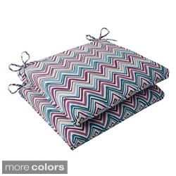 Pillow Perfect Cosmo Chevron Polyester Squared Outdoor Seat Cushions (Set of 2)