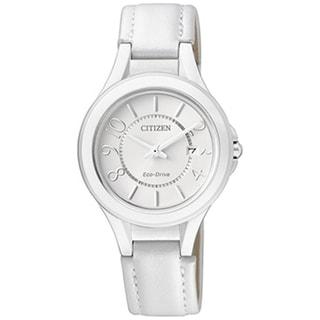 Citizen Women's Eco-Drive White Leather Strap White Dial Watch