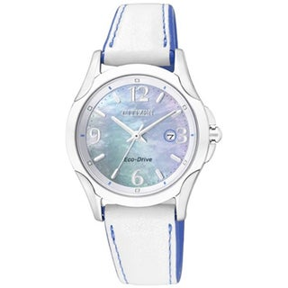 Citizen Women's Eco-Drive White/ Blue Mother of Pearl Dial Watch