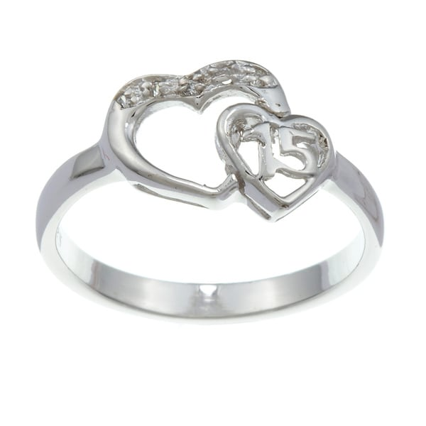 Sterling Essentials Sterling Silver Cubic Zirconia '15 Anos' Two Hearts Ring
