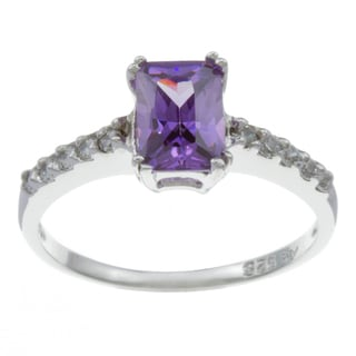 Sterling Essentials Silver Purple Emerald-cut Cubic Zirconia Ring