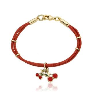 Little Miss Twin Stars Vermeil Red Nylon and Cherry Charm Bracelet