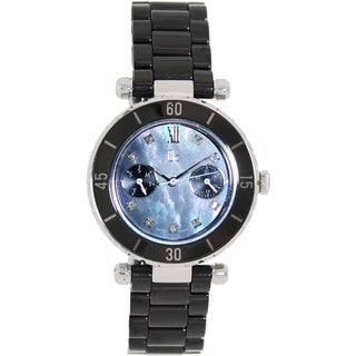 Guess Collection Women's G46003L2 Black Ceramic Quartz Watch with Mother-Of-Pearl Dial