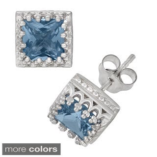 Tiara Collection Sterling Silver 6mm Square Gemstone Crown Earrings