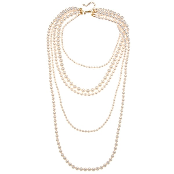 Roman Cream Faux Pearl Multi-strand 36-inch Necklace