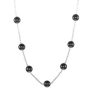 Roman Silvertone Faux Black Pearl 18-inch Necklace