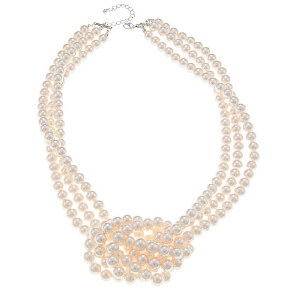 Roman Cream Faux Pearl 3-strand Side Knot Necklace