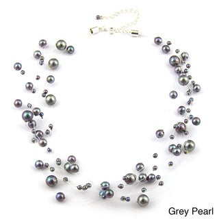 Roman Silvertone Faux Pearl Illusion Beaded Necklace