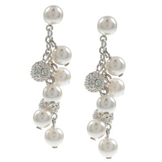 Roman Silvertone Cream Faux Pearl and Crystal Cluster Earrings