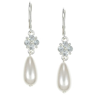Roman Silvertone Cream Faux Pearl and Crystal Teardrop Earrings