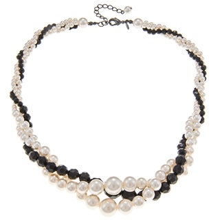Roman Silvertone Faux Pearl and Faceted Black Crystal Twist Necklace