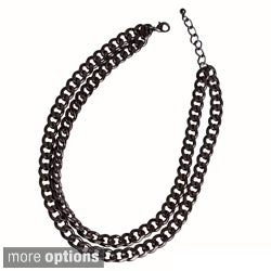 NEXTE Jewelry Color-plated Double Cuban Chain Necklace