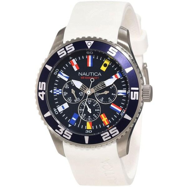 Nautica Men's White/ Blue Calendar Subdials Watch