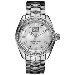 Marc Ecko Men's Silver-Dial Crystal-Accented Stainless-Steel Watch