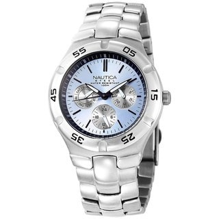 Nautica Men's Metal Basic Silver Stainless Steel Quartz Watch with Blue Dial