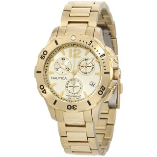 Nautica Men's Gold Tone Stainless Steel Quartz Watch with Gold Dial