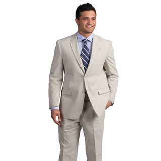 Adolfo Men&#39;s Tan Mini Pinfeather Suit
