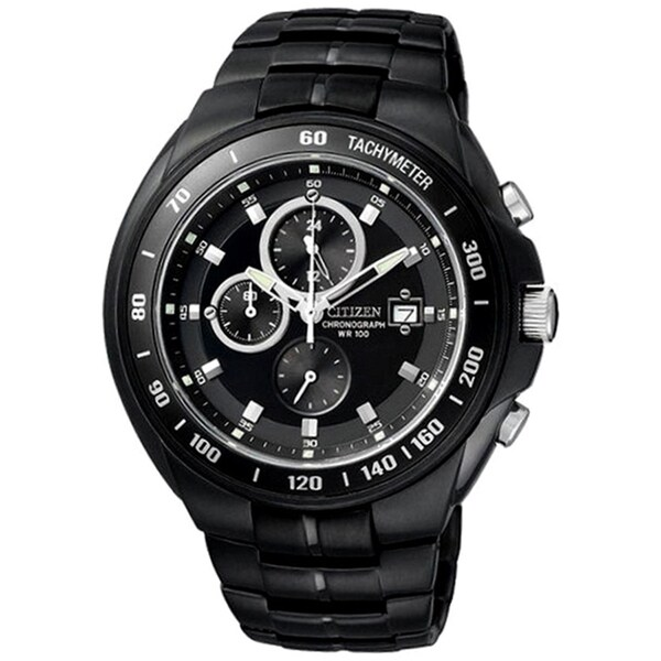 Citizen Men's Black Stainless Steel Chronograph Watch