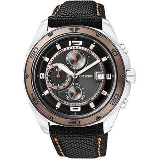 Citizen Men's AN3440-11E Black Nylon Quartz Watch with Black Dial