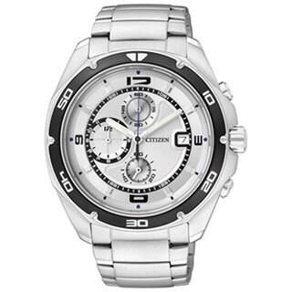 Citizen Men's Quartz Chronograph Silver Stainless Steel Quartz Watch with Silver Dial