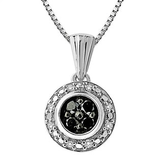 Sterling Silver 1/6ct TDW Black and White Diamond Circle Necklace (H-I, I1-I2)