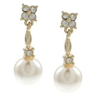 Roman Goldtone Cream Faux Pearl and Crystal Earrings