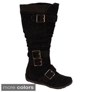 I-Comfort Women's Microsuede Buckle Shaft Knee-high Boots