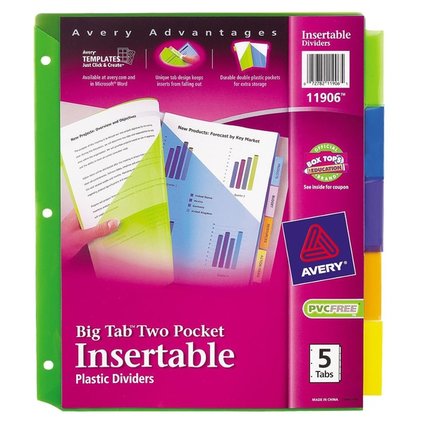 Avery Assorted Big Tab/ Two-pocket Dividers (Pack of 5)