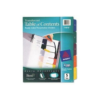 Avery 5-Tab Letter Ready Index Table/Contents Dividers (Set of 5)