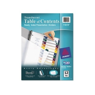 Avery 12-Tab Letter Ready Index Table/Contents Dividers (Pack of 12)