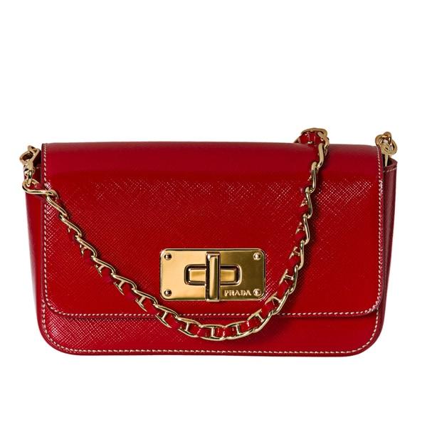 Prada 'Vernice' Red Saffiano Leather Crossbody Clutch