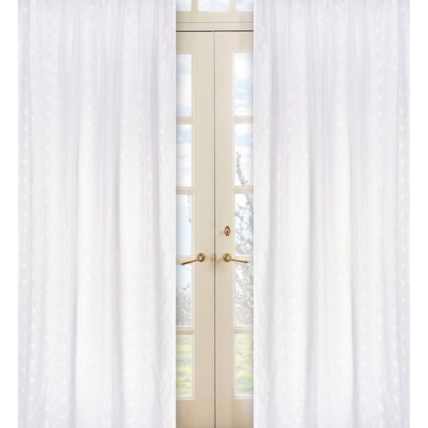 White Eyelet 84-inch Curtain Panel Pair
